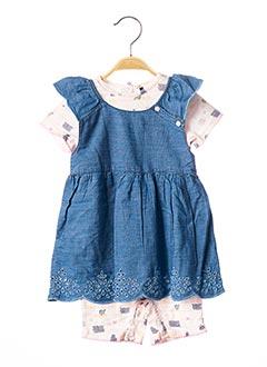 Top/robe bleu 3 POMMES pour fille