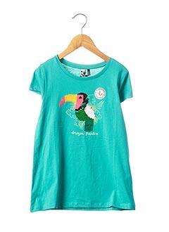 T-shirt manches courtes bleu 3 POMMES pour fille