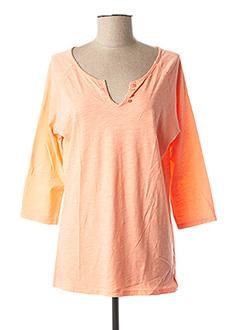 T-shirt manches longues orange FLEUR DE SEL pour femme