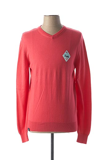 Pull col V rouge CAMBE pour homme