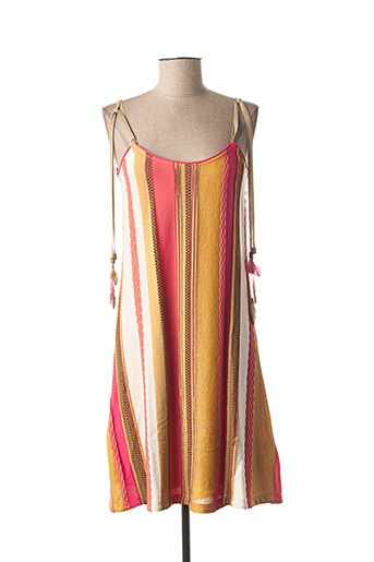Robe mi-longue rose TRICOT CHIC pour femme