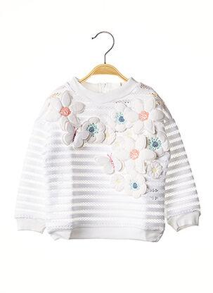 Sweat-shirt blanc MILK ON THE ROCKS pour fille