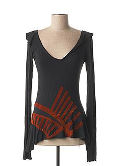 T-shirt manches longues noir PIANURASTUDIO pour femme