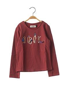 T-shirt manches longues rouge JEAN BOURGET pour fille