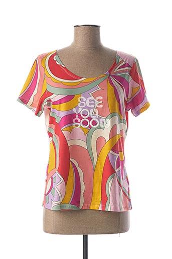 T-shirt manches courtes rouge BLEU D'AZUR pour femme