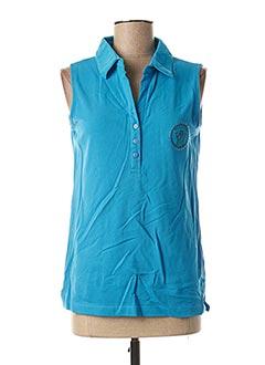 Polo sans manche bleu FELINO pour femme