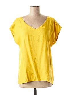 T-shirt manches courtes jaune 1 2 3 pour femme