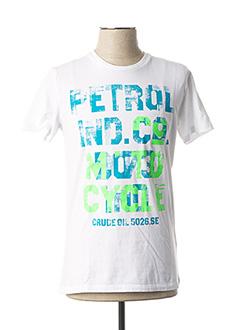 T-shirt manches courtes blanc PETROL INDUSTRIES pour homme