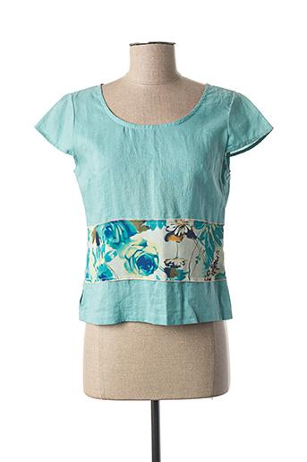 Blouse manches courtes bleu COCO MENTHE pour femme