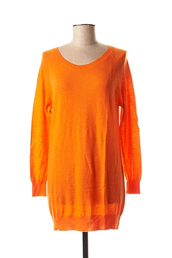 Pull tunique orange FINE COLLECTION pour femme