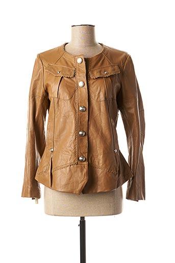 Veste simili cuir marron HIGH pour femme