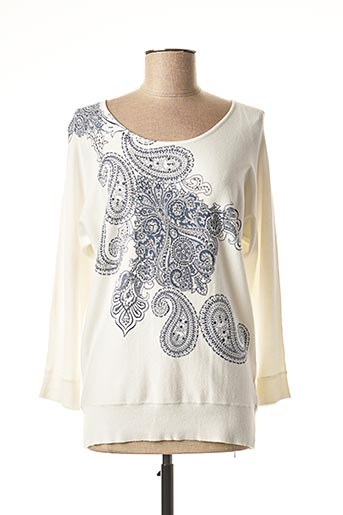 Pull col rond blanc DIANE LAURY pour femme