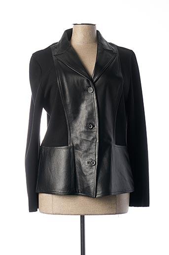 Veste en cuir noir BOD pour femme