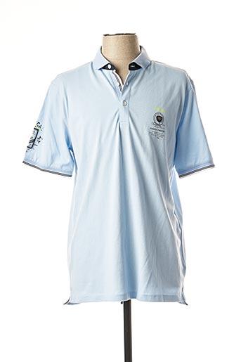 Polo manches courtes bleu MONTE CARLO pour homme