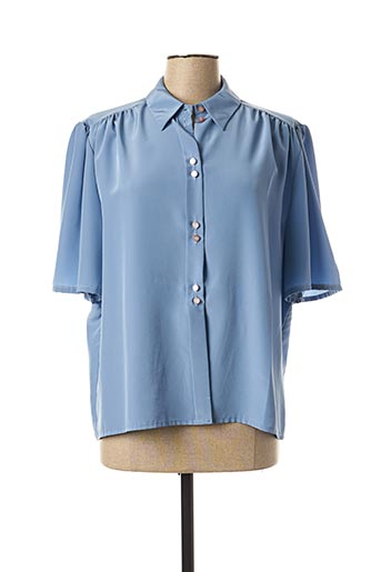 Chemisier manches courtes bleu BRIGITTE SAGET pour femme