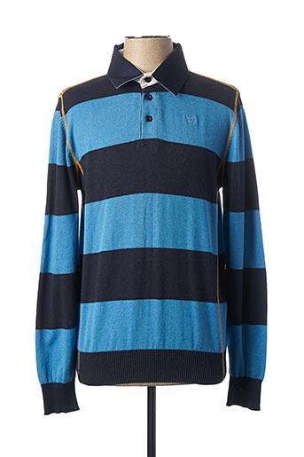 Polo manches longues bleu FELLOWS pour homme