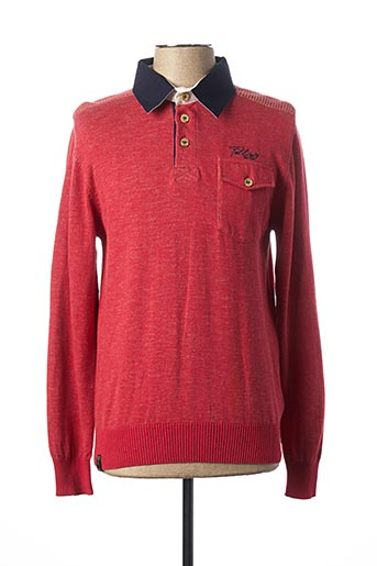 Polo manches longues rouge FELLOWS pour homme