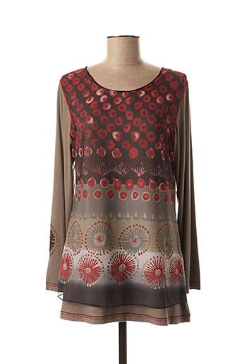 T-shirt manches longues marron CAMAGE pour femme
