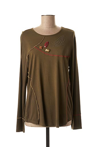 T-shirt manches longues vert CLAUDE DE SAIVRE pour femme