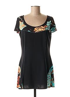 T-shirt manches courtes noir ANNE KELLY pour femme