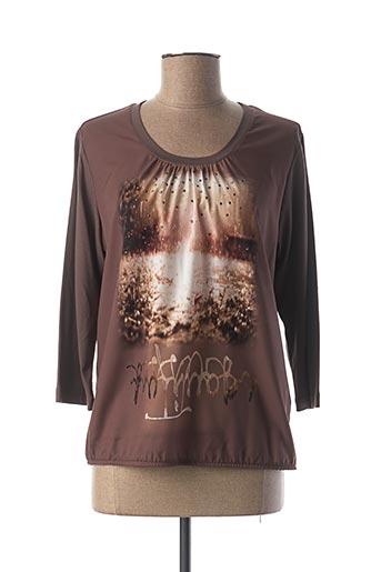 T-shirt manches longues marron FRANK WALDER pour femme