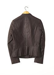 Veste en cuir marron CARACTERE pour femme seconde vue