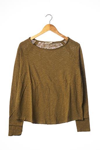 T-shirt manches longues vert AMERICAN VINTAGE pour femme