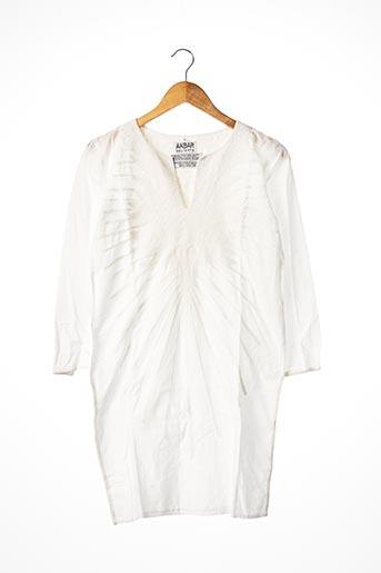 Tunique manches longues blanc AKBAR DELIGHTS pour femme