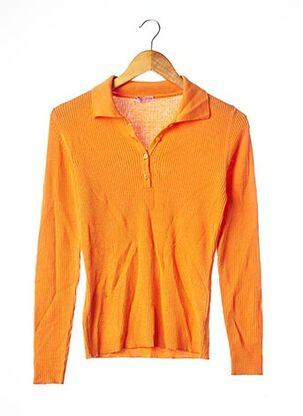 Polo manches longues orange CURLING pour femme