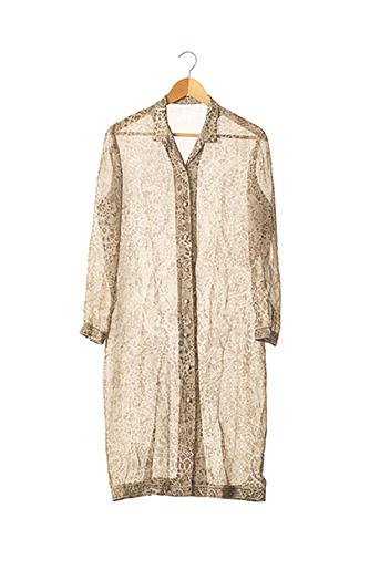 Manteau long beige LEONARD PARIS pour femme