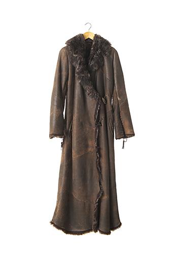Manteau long marron BISCOTE pour femme
