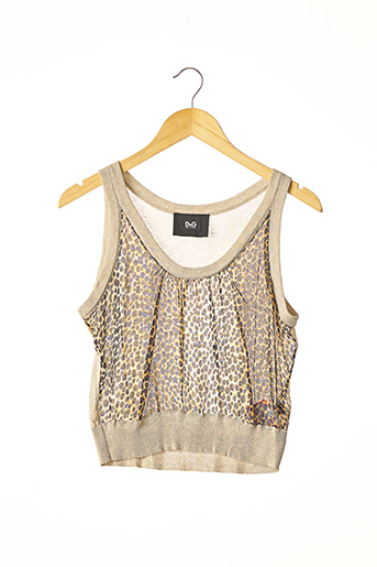 Pull col rond beige DOLCE & GABBANA pour femme