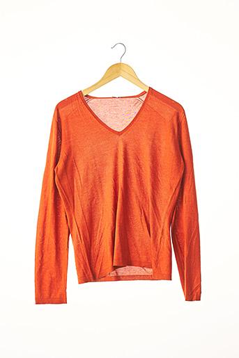 Pull col V orange AGNONA pour femme