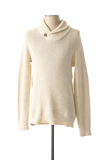 Pull col châle beige SELECTED pour homme