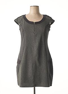 Robe mi-longue gris CARMEN pour femme