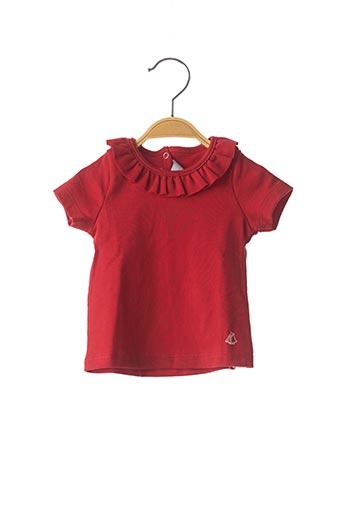 T-shirt manches courtes rouge PETIT BATEAU pour fille