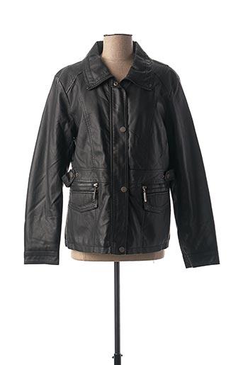 Veste simili cuir noir SATURNE pour femme
