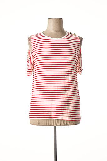 T-shirt manches courtes rouge DOUBLE JEU pour femme