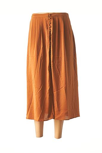 Jupe mi-longue marron ANDY & LUCY pour femme