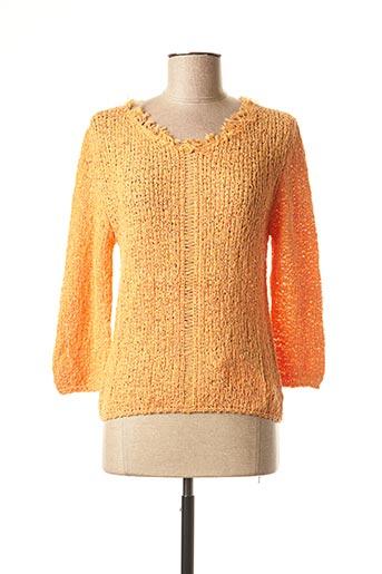 Pull col V orange DIKTON'S pour femme