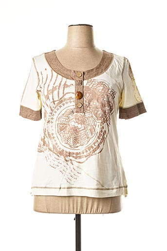 T-shirt manches courtes beige BE THE QUEEN pour femme