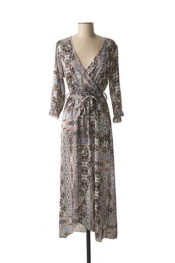 Robe longue marron BISCOTE pour femme