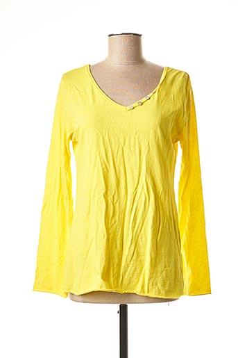 T-shirt manches longues jaune COCCO BELLO pour femme