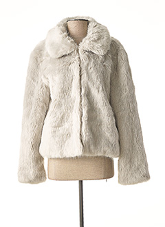 Manteau court gris ICHI pour femme