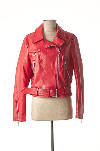 Veste simili cuir rouge MOLLY BRACKEN pour femme