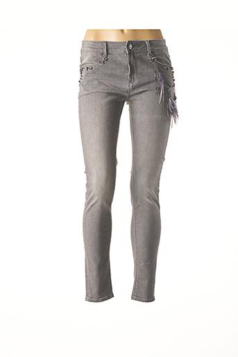 Jeans coupe slim gris FRACOMINA pour femme