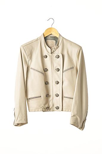 Veste en cuir beige COMPAGNIE DES MONTAGNES ET DES FORETS pour femme