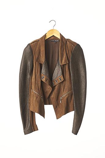 Veste en cuir marron EXTENZO PARIS pour femme