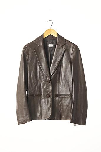 Veste en cuir marron JOSEPH pour femme