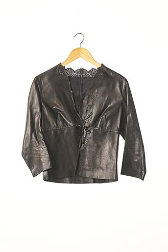 Veste en cuir noir GUCCI pour femme
